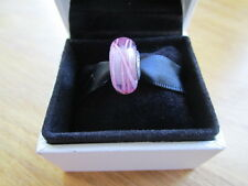 Pandora Pink Ribbon Glass Murano Charm  With Pandora Suede  Pouch