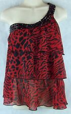 Belle du Jour One Sleeve Ruffle Layer Top with Embellished Collar Red/Black Sz L