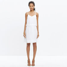 NWT MADEWELL J crew dress White Skylight Overlay Strap Eyelet Layer Lined sz 2