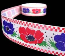 "1 Yd Checkered Edge Red Purple Poppy Flowers Ribbon 1 1/2""W"