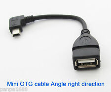50x Right Angle 90D Host OTG Adapter Cable Mini 5pin USB male to USB 2.0 Female