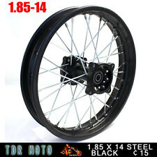 "Black Steel 1.85x14"" 15mm Axle Rear Rim for Chinese Motorbike Dirt Trail MX Bike"
