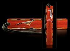 USA-Made Inlaid Wood Bookmark Engraved with Photo of a Greater Roadrunner