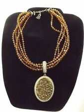 JOAN RIVERS Bronze Gold DRUSY ENHANCER ON AB Bead Necklace Gold Tone