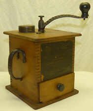 Antique Wood & Cast Iron Sun Mfg No 1080 Fast Grinder Coffee Mill w/ Paper Label