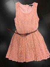 Forever 21 Women Peach Lace fancy Dress With Belt Holiday party dress Small