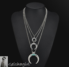 Triple Half Moon Turquoise Silver Pendant Necklace Multi Chain UK Seller