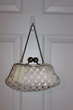 Lord and Taylor Crochet Ivory Satin Evening Bag Kiss Lock New with $48 Tag