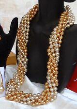 MULTI-FUNCTIONAL GOLD/CHAMPAGNE MAJORCA/MALLORCA PEARL NECKLACE faux majorica
