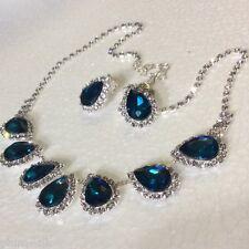 """SE68 Collar Babero Ciruela Reino Unido Plata 20"""" pendientes de clip en Aqua y claro cristales BOXD"""