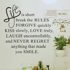 LIFE IS SHORT Art DIY QUOTE Wall Sticker home Vinyl decor inspirational Decal