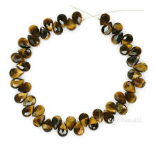 45 Tiger Eye Faceted Flat Briolette Beads 6x9mm A #81012