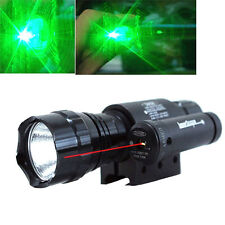 Neu 2500ML CREE  LED Taschenlampe Lampen  + Rot Laser Sight Scope + Mount Ring