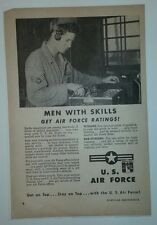 """Vintage 1951 U S Air Force Recruiting Ad """"Men With Skills Get Air Force Ratings"""""""