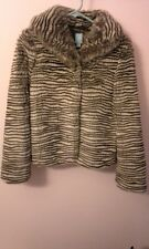 "NWT COOP Barneys New York striped cream and brown Faux ""Fur""  Jacket (size xs)"