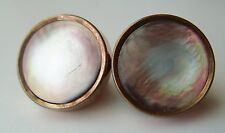 LARGE ANTIQUE VICTORIAN TINTED MOTHER OF PEARL GOLD FILLED CUFFLINKS