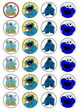 24 X COOKIE MONSTER PARTY BIRTHDAY RICE PAPER CAKE TOPPERS