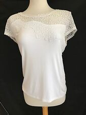 Elie Tahari White Lace Short Sleeve Top Size L