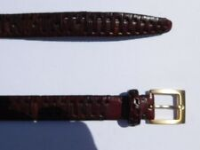 "DESIGNER MENS BROWN ITALIAN CALF WOVEN LEATHER BELT 1.125"" WIDE SIZE 38"