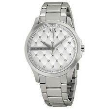 Armani Exchange Silver Quilted Crystal Dial Stainless Steel Ladies Watch AX5208