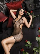 Fishnet Halter Mini Dress W/Rhinestone, Leg Avenue, 8-12, Sexy Lingerie, Chemise