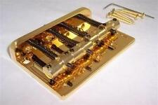 HARD TAIL BASS GUITAR BRIDGE / STRINGS THROUGH REAR OF BRIDGE / GOLD