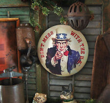 Primitive Antique Vtg Style Retro Red White Blue Uncle Sam Dome Metal Tin Sign
