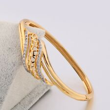 Attractive 18K gold filled chain lady unique sapphire crystal bangles bracelets