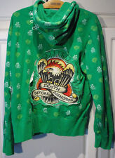 ED HARDY Super Colorful HOODIE SWEAT SHIRT JACKET M MEDIUM LIGHTWEIGHT sz L