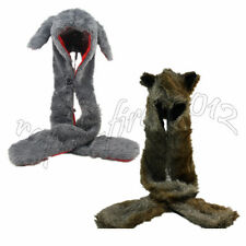 2pcs Rabbit & Peacock Faux Fur Full Hood Spirit 3 in 1 Hat With Scarf Mittens