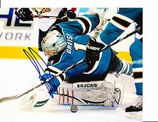 SAN JOSE SHARKS THOMAS GREISS SIGNED BLOCKER SAVE 8X10