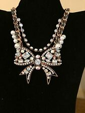 Spring Bling Betsey Johnson HUGE  Copper W/Crystal multi-strand BOW Necklace