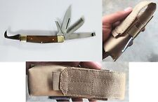 5 in 1 Horseman's Multi Knife with Hoof Pick Comb Farrier With Belt Loop Pouch