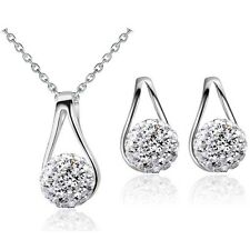 Silver White Shamballa Jewellery Set Stud Earrings & Pendant Necklace S904