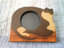 "FAT CAT Warren Kimble Cat Photo Frame Holds 2.5"" x 2.5"" Wood Free Standing FETCO"
