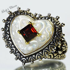 Barbara Bixby Mother Of Pearl Garnet Heart Ring Sterling Silver 18K Gold Size 8