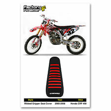 2005-2008 HONDA CRF 450 Black with Red Ribs RIBBED SEAT COVER BY Enjoy Mfg