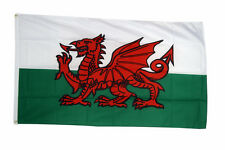 Wales National Flag Large 5 x 3 FT - 100% Polyester With Eyelets - Welsh Dragon