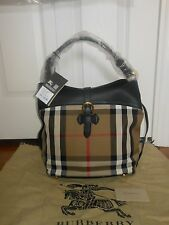 NWT Burberry $1395 Sycamore House Check Horseshoe Leather Hobo Shoulder Bag