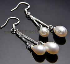 Pretty! 6-7mm white Akoya Freshwater Pearl Silver Hook Drop Dangle Earring