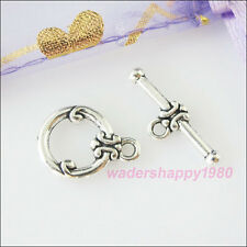 12Sets New Tibetan Silver Tone Round Toggle Clasps Connectors for DIY Crafts