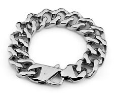 19mm Rocker Biker Gothic Curb Cuban Casting 316L Stainless Steel Bracelet 5041