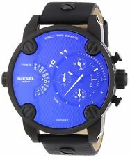 Diesel DZ7257 Men's black IP Leather Band Blue Dial 2 Time Chronograph Watch