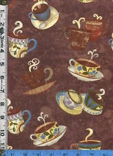 Fabric Clothworks Coffeehouse Sue Zipkin tossed coffee cups on brown  BTHY