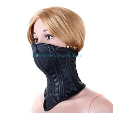Female PU Leather Slave Collar Harness Half Face Mask Neck Fixed Roleplay Toy