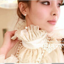 Fashion Lady Pearl Drop Dangle Long Chain Threader Earrings Gold Plated