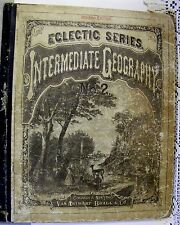 """VINTAGE COLLECTIBLE BOOK-""""ECLECTIC SERIES INTERMEDIATE GEOGRAPHY No.2""""-1881"""