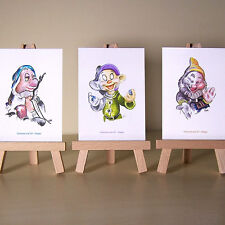 3 del 7 biancaneve nani Sleepy DOPEY e felice WDCC disegni ACEO ART CARDS
