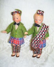 "VINTAGE SCOTTISH BOY AND GIRL DOLLS 4"" IRELAND CLOTHING"