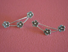 925 Sterling Silver Flower Ear Cuff - No Piercing Earring Clip On - Ear Pins